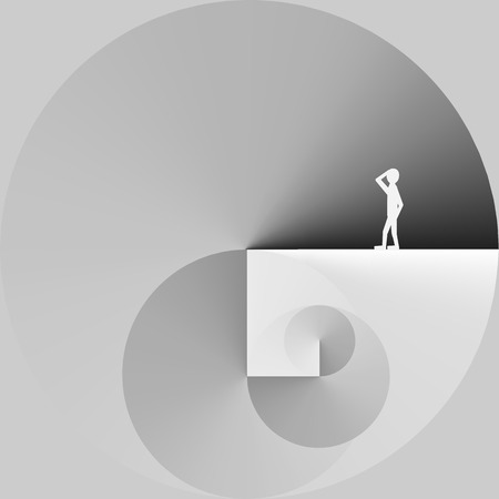 Man Standing in a Spiral of Work - Vector Illustration