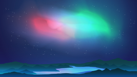 Aurora above Lake with Reflection - Vector Illustration Illustration