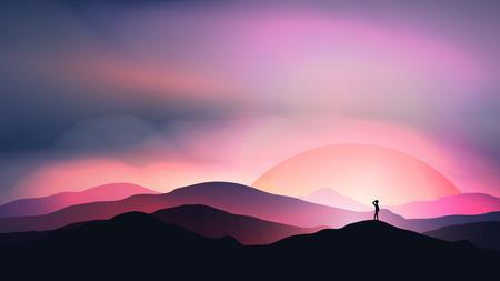거리 풍경을 쳐다 보면서 남자와 산 이상의 일몰 또는 새벽. 일러스트