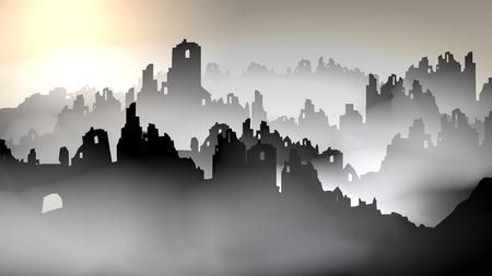 Silueta de edificios destruidos - ilustración vectorial Foto de archivo - 90303998