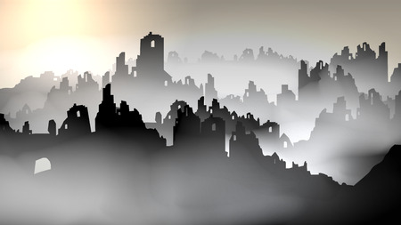 Silhouette of destroyed buildings- Vector Illustration