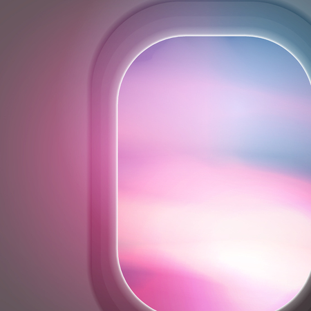 Looking out the Windows of a Plane , Sunset View - Vector Illustration