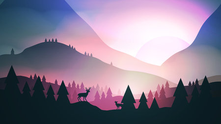 Sunset or dawn over mountains with stag on hill top pine forest landscape vector illustration