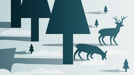 Minimal winter forest scene with stag template background vector illustration
