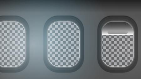 Looking out the windows of a plane transparent background vector illustration Ilustração