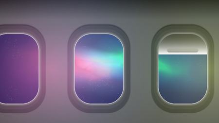 Looking out the windows of a plane aurora night sky vector illustration Ilustração