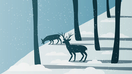 Minimal Winter Forest Scene with Stag Near a River - Vector Illustration 向量圖像