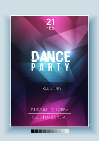 Abstract dance party night poster, flyer template. Vector illustration