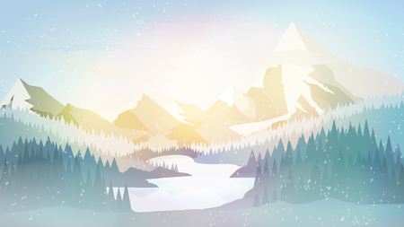 Winter Pine Forest with Mountain Lake- Vector Illustration