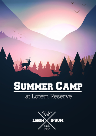 Summer Camp Poster with Mountains, Stag on Hill Top Pine Forest Landscape Illustration.