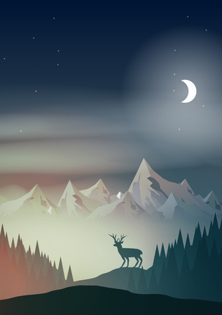 Night in Mountains with Stag on Hill Top Pine Forest Landscape Illustration.
