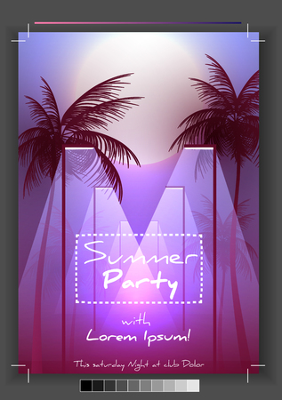 Summer Party Flyer Design with Palmtrees - Vector Illustration