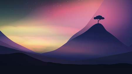 Sunset in the Mountains with a Lone Tree - Vector Illustration