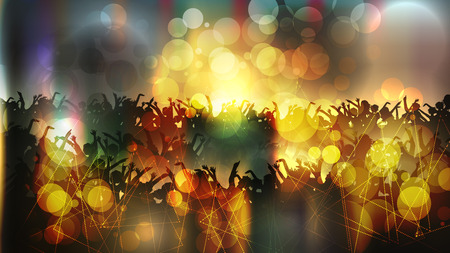 Party People Crowd, Festive Disco Event Background - Vector Illustration