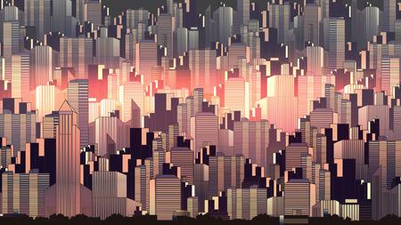 Urban City Nightscape - Vector Illustration
