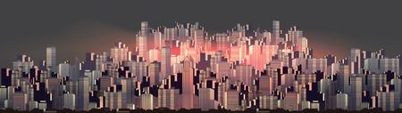 Urban City Nightscape Panorama - Vector Illustration