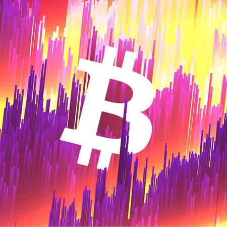 Digital Currency Symbol Bitcoin on Fiber Optic Background - Vector Illustration