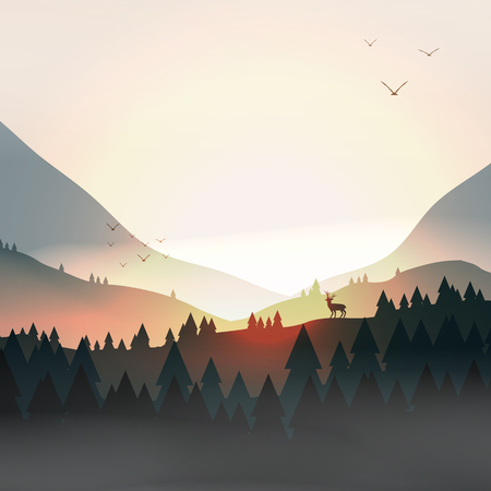 Sunset or dawn over mountains with stag on hill top pine forest landscape - vector illustration.