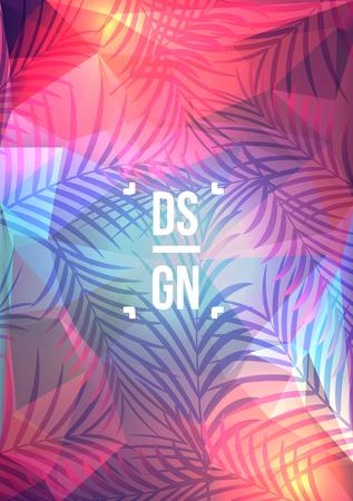 Exotic palm leaves on geometric background. Summer tropical design flyer - Vector illustration. 向量圖像