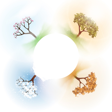 Four Seasons Spring, Summer, Autumn, Winter Banners with Abstract Trees - Vector Illustration 向量圖像