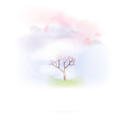 Spring  with Lush Grass and Blooming Tree - Vector Illustration