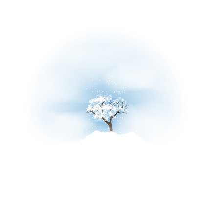 Winter with Tree and Falling Snow - Vector Illustration