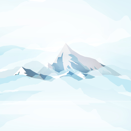 Winter High Mountains in Clouds - Vector Illustration
