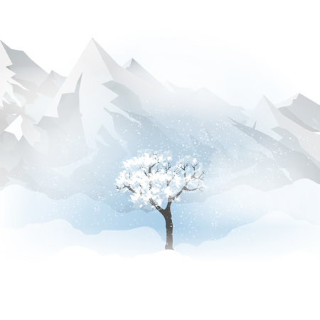 Winter with mountains, a tree and falling snow vector illustration.