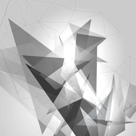 Black & White Background with Triangles  - Vector Illustration