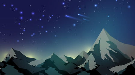 Mountain Tops on Starry Night Sky template