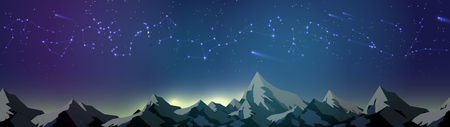 Star Constellations over Mountains on the Night Sky Panorama - Vector Illustration