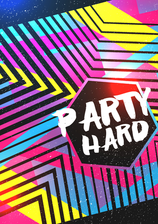 Abstract Geometric Party Poster Background Template - Vector Illustration