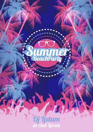 Retro Summer Beach Party Vector Flyer - Vector Illustration 向量圖像