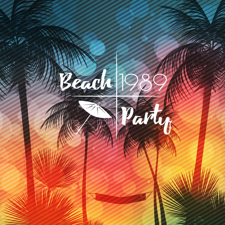 Summer Beach Party Flyer Design with Palmtrees - Vector Illustration 向量圖像