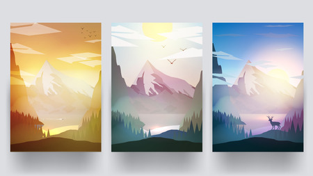 Mountains Landscape in Different Time of Day - Vector Illustration 向量圖像