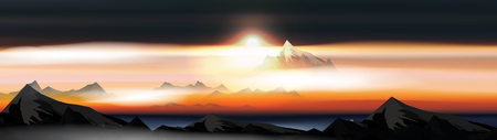 Mountains Over the Clouds Landscape at Sunset or Dawn Panorama  - Vector Illustration 向量圖像
