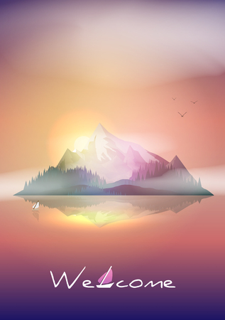 Mountains Island Sunset Landscape in the Sea  - Vector Illustration Illustration