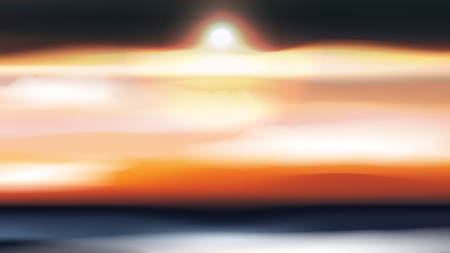 Clouds Landscape at Sunset or Dawn  - Vector Illustration