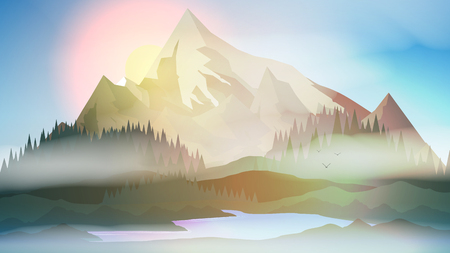 Sunset or Dawn Over Mountains with Lake and Pine Forest Landscape - Vector Illustration 向量圖像
