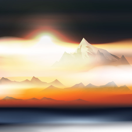 Mountains Over the Clouds Landscape at Sunset or Dawn  - Vector Illustration