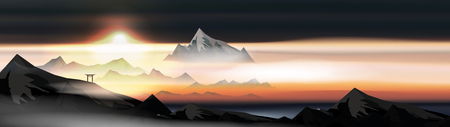 Japanese Landscape Background with Mountains and Arch Sunset with Fog Panorama  - Vector Illustration