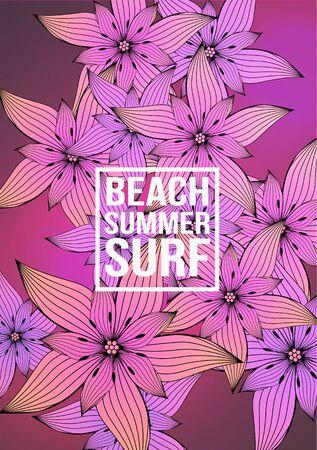 Tropical Flower Background - Vector Illustration