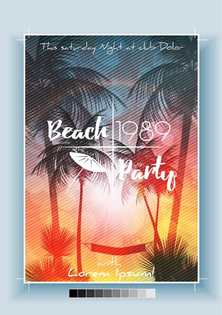 Summer Beach Party Panorama - Vector Illustration