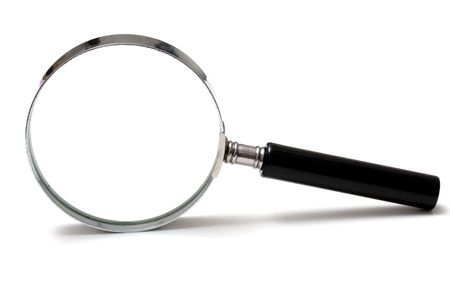 Magnifying glass on white background photo