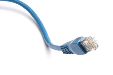 network cable: Blue network cable on white