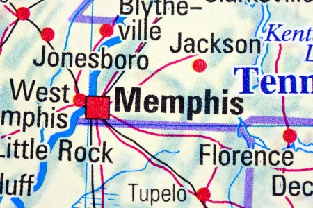 Memphis, Tennessee on a map