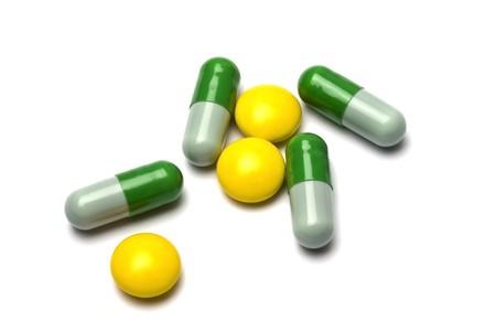 Some pills on white background Stock Photo