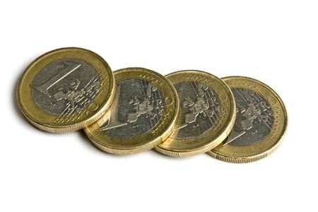 Euro coins isolated on white background photo