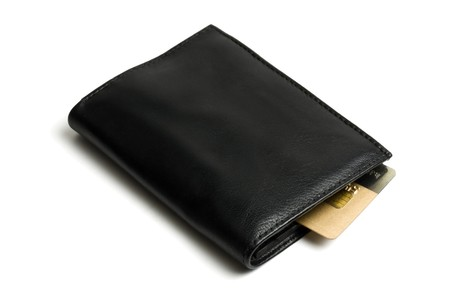 Black wallet with Credit card isolated on white Stock Photo - 7100607