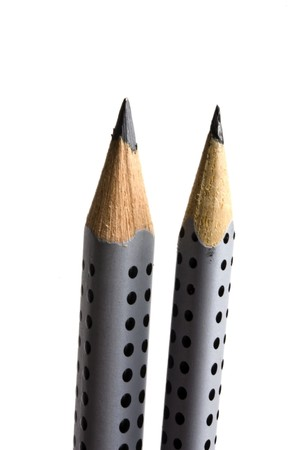 secretarial: pencils on focus isolated on white